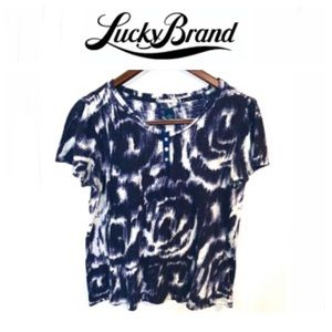 Lucky Brand blue and black abstract print tee